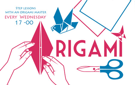 banner, cover for origami in the form of hands bending sheet of paper and items  object for origami for printing in two colors
