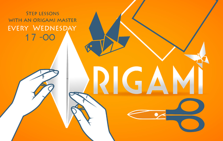 banner, cover for origami in the form of hands bending sheet of paper and items  object for origami