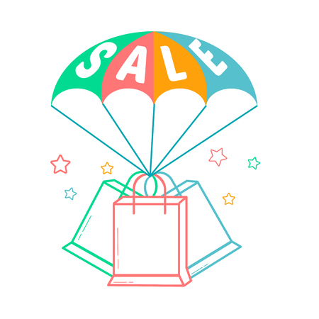 Icon of the parachute  with the inscription sale and packages in the linear style