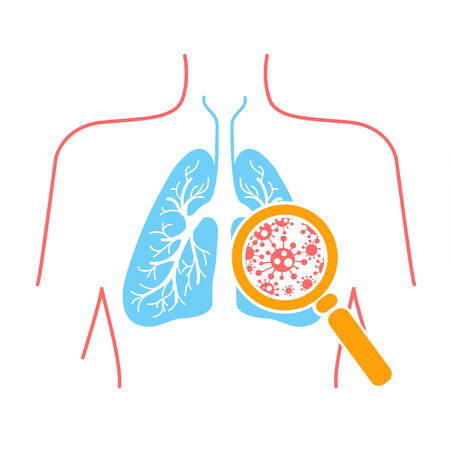 icon of lung disease, pneumonia, asthma, cancer in the form of lung anatomy and viruses causing disease. Icon in linear style Vectores