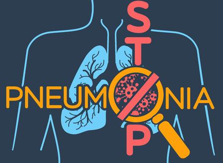 Illustratie, poster of banner van wereldpneumonie in de vorm van anatomie van de longen en bacteriën die ziekte veroorzaken en een inscriptie stoppen.