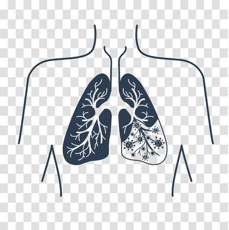 icon of lung disease, pneumonia, asthma, cancer in the form of lung anatomy and viruses, bacteria causing disease. icon, silhouette in a linear style Illustration