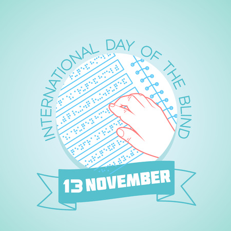 Calendar for each day on november 13. Greeting card. Holiday -  International Day of the Blind. Icon in the linear style Illustration