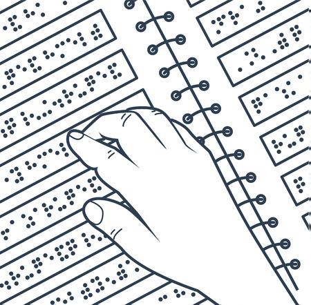 手の形で盲目の人々の本を読んで、ポイントで構成されるテキストの図。アイコン、リニアスタイルでシルエット