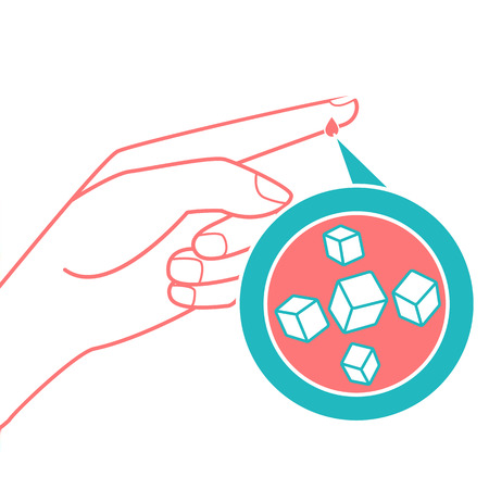 sugar cube: concept of diabetes in the form of measuring blood sugar from a drop of blood from the finger. Icon in the linear style