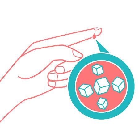 concept van diabetes in de vorm van het meten van bloedsuikerspiegel uit een druppel bloed uit de vinger. Pictogram in de lineaire stijl Stock Illustratie