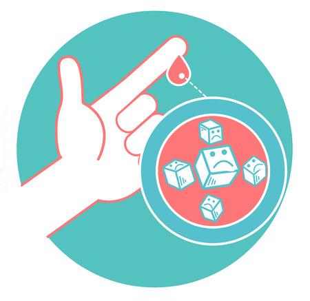 Concepto de diabetes en forma de medir el azúcar en la sangre de una gota de sangre del dedo. Icono en el estilo lineal.