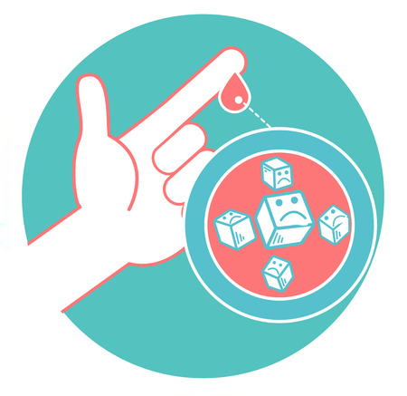 Concept of diabetes in the form of measuring blood sugar from a drop of blood from the finger. Icon in the linear style.