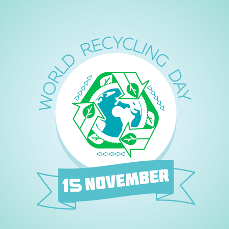 Calendar for each day on november 15. Greeting card. Holiday -  World Recycling Day. Icon in the linear style Illustration