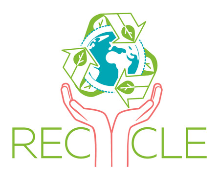 banner about recycle as a sign recycling arrows symbol with Earth globe inside and hands for the symbol of environmental protection. Recycle icon  in the linear style Illustration