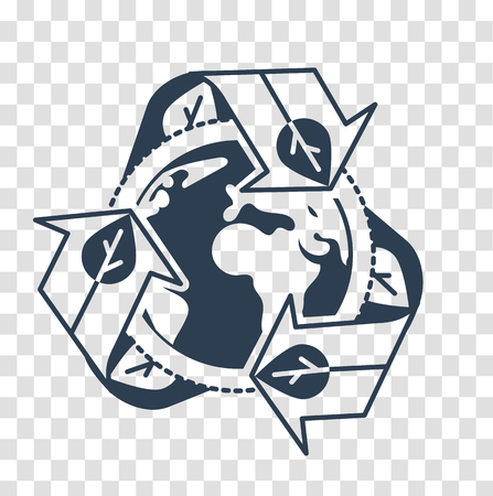 concept environment with recycling , recycling arrows symbol with Earth globe inside. Recycle icon, silhouette  in the linear style