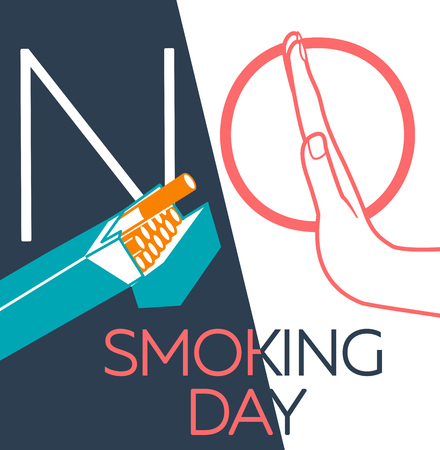 concept of abandoning the harmful habit of smoking in the form of a hand with a pack of cigarettes and a hand refusing to smoke with a stylized inscription No Smoking day. banner in the linear style