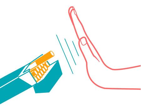 Concetto di abbandonare l'abitudine dannosa di fumare sotto forma di una mano con un pacchetto di sigarette e una mano che si rifiuta di fumare con una scritta stilizzata No Smoking day. icona nello stile lineare Archivio Fotografico - 89603376