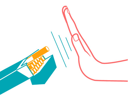 concept of abandoning the harmful habit of smoking in the form of a hand with a pack of cigarettes and a hand refusing to smoke with a stylized inscription No Smoking day. icon in the linear style Illustration