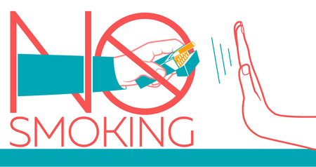 concept of abandoning the harmful habit of smoking in the form of a hand with a pack of cigarettes and a hand refusing to smoke with a stylized inscription No Smoking. banner in the linear style