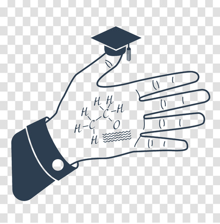 Funny concept of education at a university. A college in the form of a hand with cheat sheet and a hat on your finger.