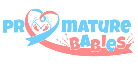 Concept of premature births with red and blue ribbon design Illustration