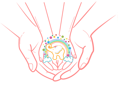 concept of protection, caring for a child in the form of an adult hand holding a childs hand and a childs soul and fantasy. Icon in the linear style Illustration