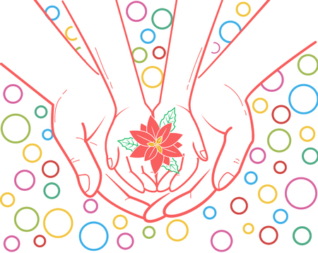 concept of protection, caring for a child in the form of an adult hand holding a childs hand and a flower in her hand. illustration in the linear style
