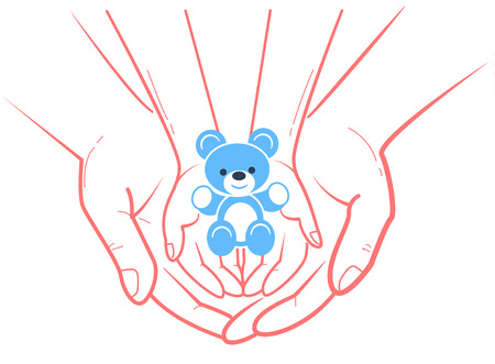 Concept of child protection, adoption in the form of childrens hands with a toy bear. Icon in the linear style Illustration
