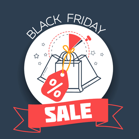 banner on a black Friday the day of sale in the form of packages with discounts. Icon in the linear style Illustration