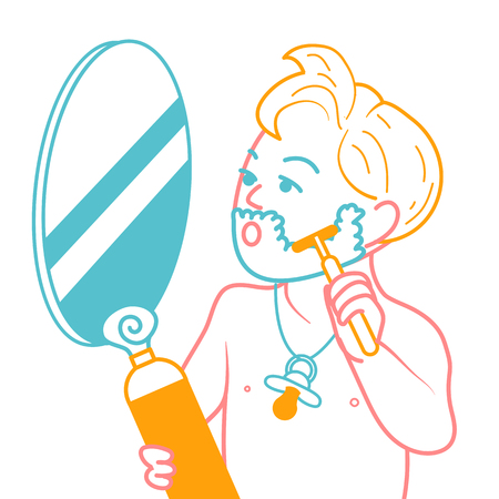 concept of the growing young boy, his imitation of the father. Icon of a little boy who shaves with a pacifier . Illustration in the linear style