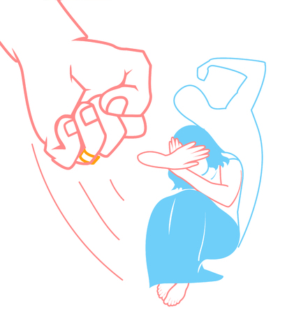 concept of domestic violence against a woman in the form of a woman covering her face and fist and the silhouette of a brutal beating man. Icon in the linear style