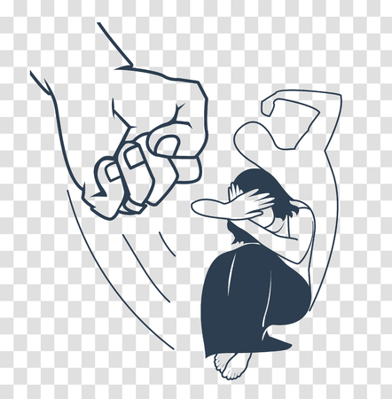 concept of domestic violence against a woman in the form of a woman covering her face and fist and the silhouette of a brutal beating man. silhouette icon in a linear style