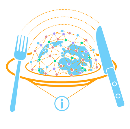 concept of analyzing information in the form of peace on plates with a multitude of messages and a fork with a knife, so that information can be digested. Icon in the linear style Illustration