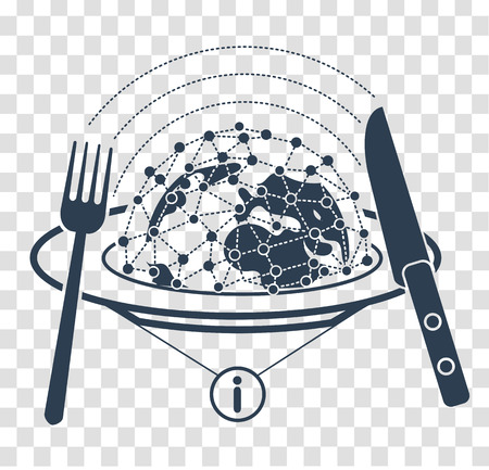 concept of analyzing information in the form of peace on plates with a multitude of messages and a fork with a knife, so that information can be digested. Icon, silhouette in the linear style