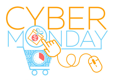concept cyber Monday in the form of a virtual cart, a cursor and a gift. Icon in the linear style Ilustração