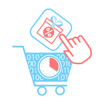 concept of sale, discounts in the online store in the form of shopping carts and virtual gifts with sale. icon in a linear style Illustration