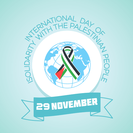 Calendar for each day on november 29. Greeting card. Holiday -   International Day of Solidarity with the Palestinian People. Icon in the linear style