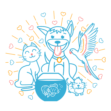 concept of friendship of domestic animals in the form of a cat, a dog, a parrot, a hamster sitting next to each other. icon in the linear style Illustration
