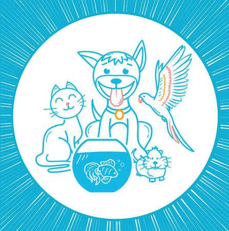 concepto de amistad de los animales domésticos en forma de un gato, un perro, un loro, un hámster sentados uno al lado del otro. ícono para una tienda de mascotas o una clínica veterinaria