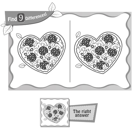 visual game for children and adults. Task to find 9 differences in the illustration pizza. black and white vector illustration