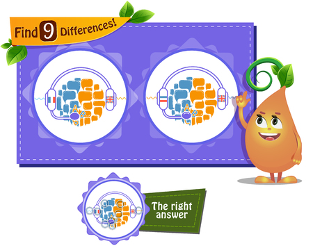 Visual Game For Children And Adults Task To Find 9 Differences