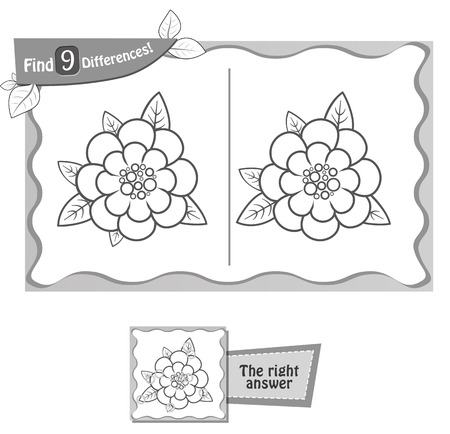 visual game for children and adults. Task to find 9 differences in the flower. black and white vector illustration Иллюстрация