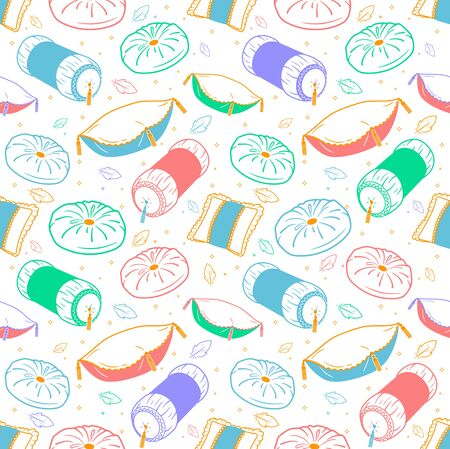 Seamless pattern background with with different shapes and types of pillows