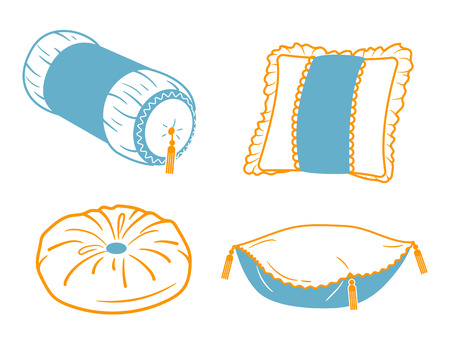 Set icons of different shapes and types of cushions. icon in a linear style