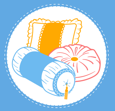 Cushion set icon in the linear style. pillows of different shapes and types