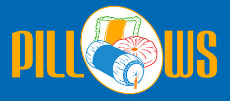Banner, label, for the production, sale of sofa and bed pillows. Icon, in the linear style