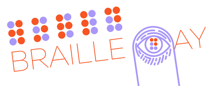 World Braille Day banner concept design template in linear style illustration.