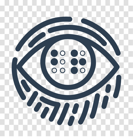 Concept illustration of blind education in the form of an eye with the text Braille and a fingerprint. Illustration