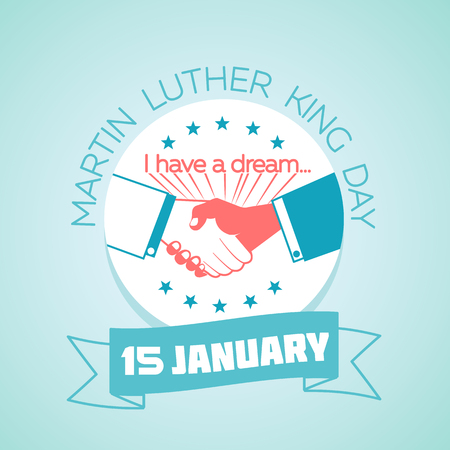 Calendar for each day on January 15. Greeting card holiday for Martin Luther King Day icon in the linear style. Иллюстрация