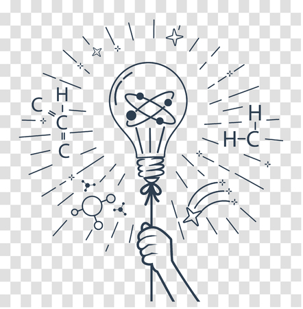 concept of children's creativity, experiments, inventions, in the form of a hand holding a balloon in the form of a light bulb. Icon, silhouette in the linear style