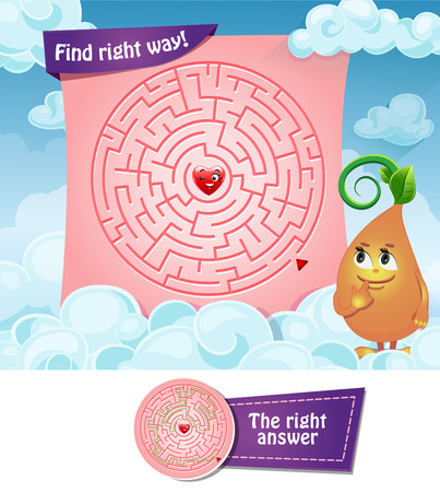 Maze vector game. Educational children game. Find right way