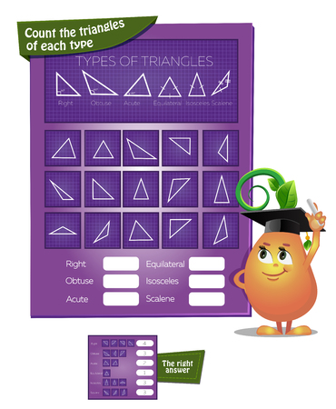 Visual game for children. Task the count the triangles for each type. educational game