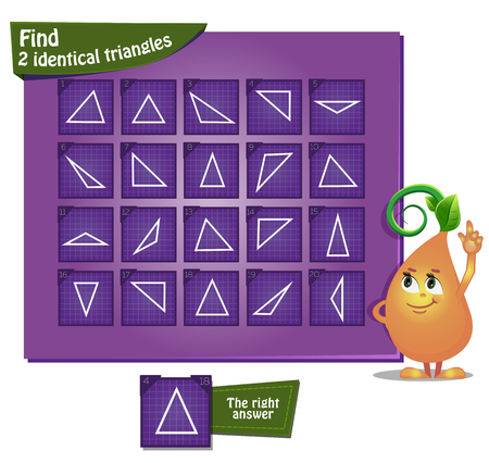 Visual game for children and adults. Task the find 2 identical triangles