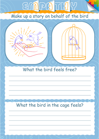 educational game for children empathy. The goal of educating understanding, compassion, kindness and love in kids Illustration